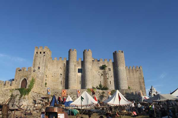 campground in front of the castle of Óbidos